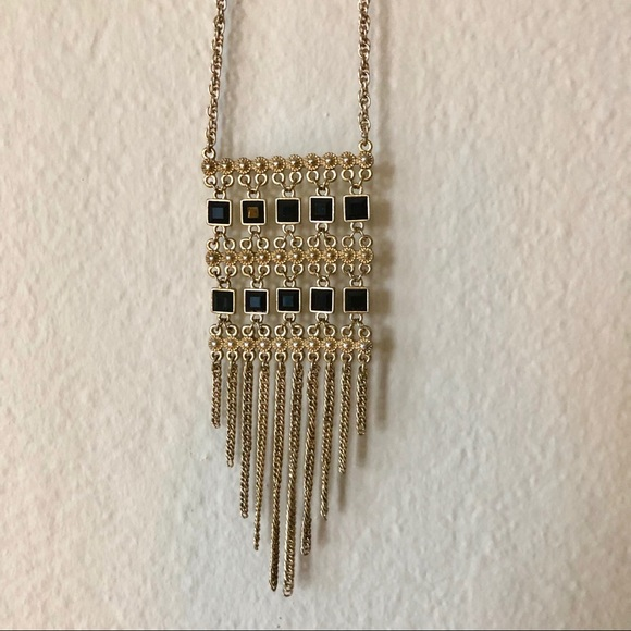 Jewelry - 🔆2/$10 Long Gold Necklace with Gold Black Detail